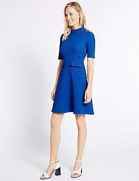 Contrasting Edge Button Skater Dress, BLUE, catlanding