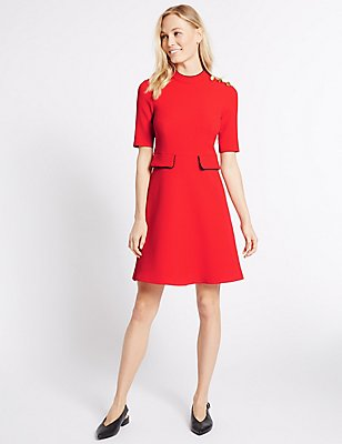 Contrasting Edge Button Skater Dress, POPPY, catlanding