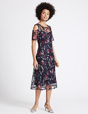 Floral Lace Cold Shoulder Skater Midi Dress, NAVY MIX, catlanding