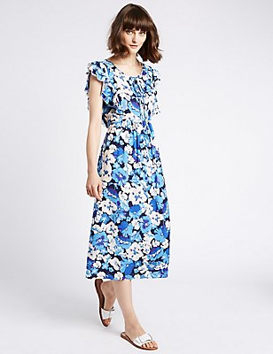 Floral Print Frill Sleeve Swing Midi Dress, MULTI, catlanding