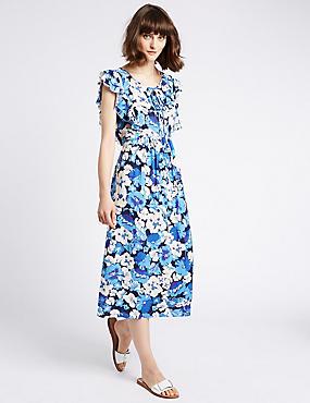 Uitlopende midi-jurk met volantmouwen en bloemmotief, MULTI, catlanding