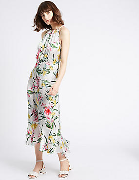 Maxi-jurk met bloemmotief, MULTI, catlanding