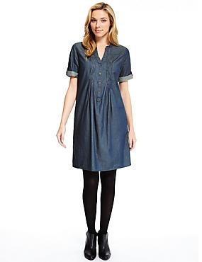 Pure Cotton Pleated Front A-Line Dress, DENIM, catlanding