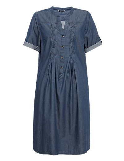 Pure Cotton Pleated Front A-Line Dress Clothing