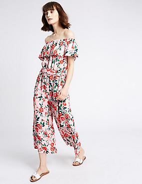 Bardot-jumpsuit met bloemmotief, MULTI, catlanding