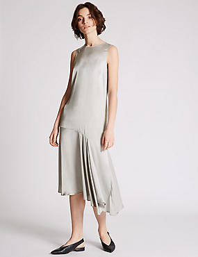 Satin Asymmetric Shift Dress, LIGHT GREY, catlanding