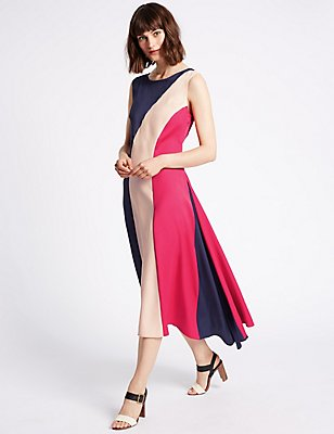 Colour Block Elliptical Hem Midi Dress, PINK MIX, catlanding
