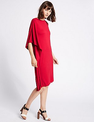 Drape 3/4 Sleeve Tunic Dress, RED, catlanding