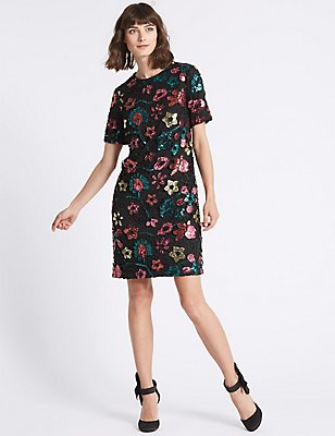 Sequin Flower Short Sleeve Tunic Dress, BLACK, catlanding