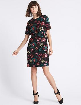 Sequin Flower Short Sleeve Tunic Dress, BLACK, catlanding