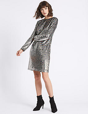 Sequin Long Sleeve Shift Dress , SILVER, catlanding