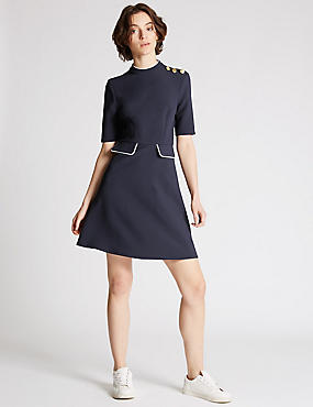 Contrasting Edge Skater Dress, NAVY, catlanding