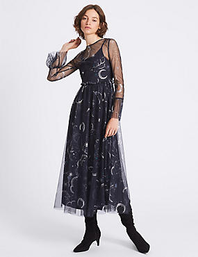 Printed Mesh Flared Sleeve Midi Dress, DARK NAVY, catlanding