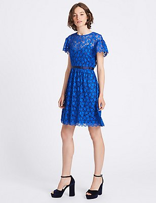 Star Lace Short Sleeve Prom Skater Dress, ELECTRIC BLUE, catlanding