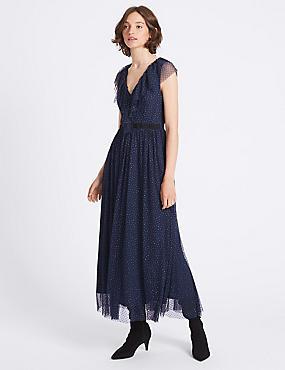 Spotted Tulle Maxi Dress, DARK NAVY, catlanding