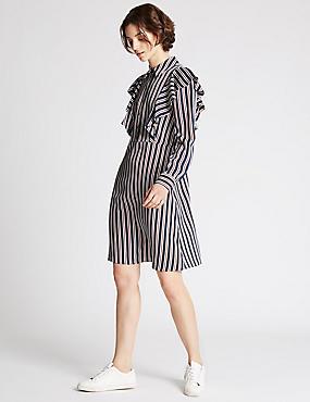 Ruffle Striped Shift Dress, NAVY MIX, catlanding