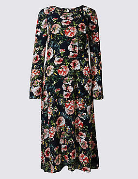 Floral Print Long Sleeve Midi Dress, NAVY MIX, catlanding