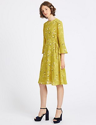 Printed Tie Side Flared Sleeve Midi Dress, GOLDEN GLAZE, catlanding