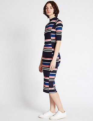 Striped Half Sleeve Bodycon Midi Dress, NAVY MIX, catlanding