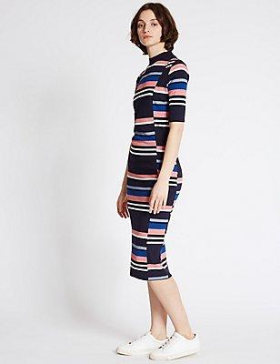 Striped Short Sleeve Bodycon Dress, NAVY MIX, catlanding