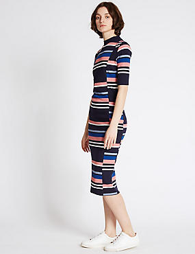 Striped Bodycon Dress, NAVY MIX, catlanding