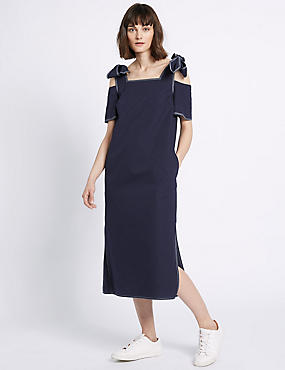 Pure Cotton Cold Shoulder Midi Dress, NAVY, catlanding
