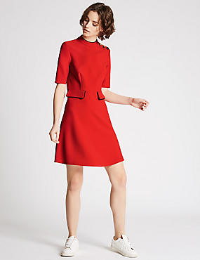 Contrasting Edge Skater Dress, RED, catlanding