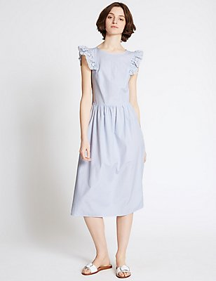 Cotton Blend Frill Sleeve Skater Midi Dress, BLUE MIX, catlanding