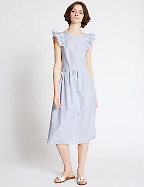 Cotton Blend Frill Sleeve Skater Midi Dress, BLUE MIX, catlanding