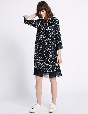 Star Print Tulle Hem 3/4 Sleeve Tunic Dress, NAVY MIX, catlanding