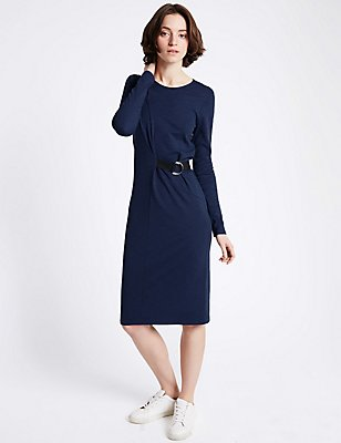 Modal Blend Buckle Long Sleeve Wrap Dress, LIGHT NAVY, catlanding