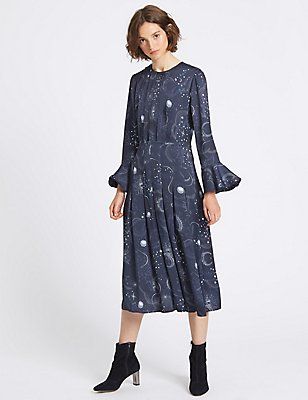 Constellation Print Long Sleeve Midi Dress, NAVY, catlanding