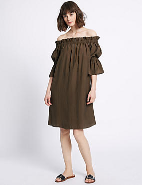 Bardot Shift Dress, KHAKI, catlanding