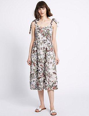 Pure Cotton Floral Print Pinafore Dress, IVORY MIX, catlanding