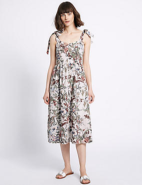 Pure Cotton Floral Print Pinafore Dress, IVORY MIX, catlanding