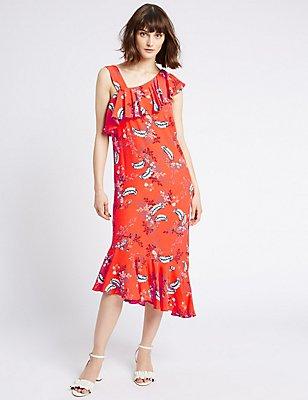 One Shoulder Floral Ruffle Tunic Dress, ORANGE MIX, catlanding