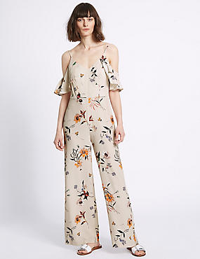 Floral Print Ruffle Side Jumpsuit, IVORY MIX, catlanding