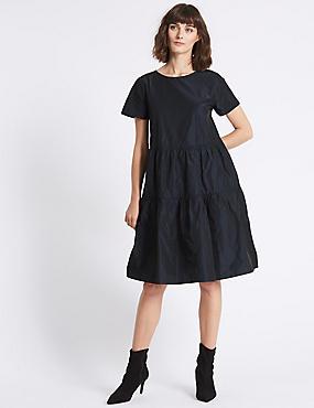 Tiered Taffeta Swing Midi Dress, NAVY, catlanding