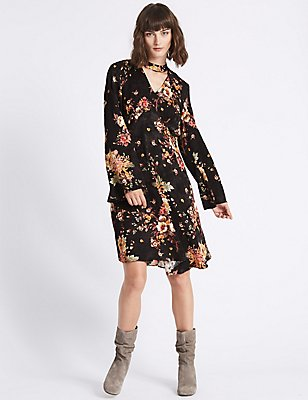 Jacquard Floral Long Sleeve Swing Dress, BLACK MIX, catlanding