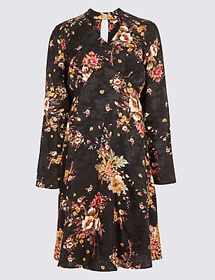 Jacquard Floral Long Sleeve Swing Dress, BLACK MIX, catlanding