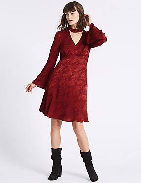 Jacquard Flared Sleeve Swing Dress, DARK CRIMSON, catlanding