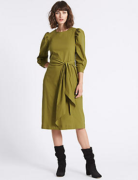 Cotton Rich Poplin Tie Waist Tunic Dress, OLIVE, catlanding