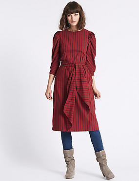 Poplin Stripe Tie Waist Tunic Dress, RED MIX, catlanding