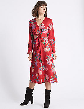 Floral Print Satin Swing Midi Dress , RED MIX, catlanding