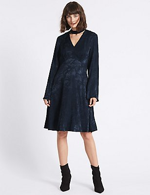 Jacquard Flared Sleeve Swing Dress , NAVY, catlanding