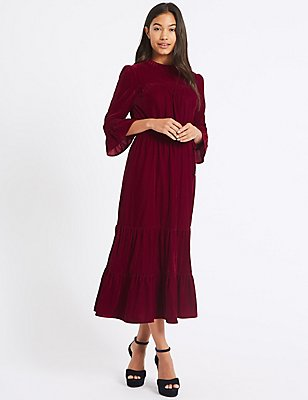 Velvet ¾ Sleeve A-Line Maxi Dress , DARK BURGUNDY, catlanding