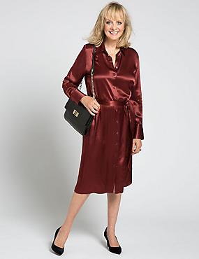 Long Sleeve Belted Shirt Dress, CLARET, catlanding