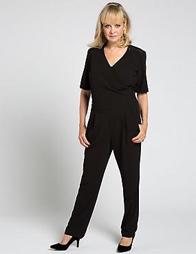 Tailored Fit Short Sleeve Wrap Jumpsuit, BLACK, catlanding
