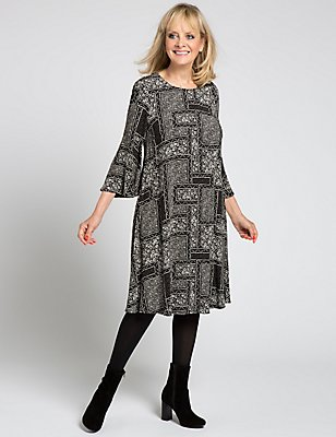 Tile Print 3/4 Sleeve Shift Dress, BLACK MIX, catlanding