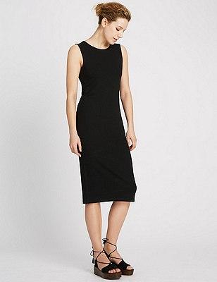 Sleeveless Ribbed Midi Dress, BLACK, catlanding